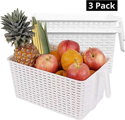 Kühlschrank Aufbewahrungskorb (3 Stück) - Kunststoff Organizer Aufbewahrungs Korb mit Henkel für Speisekammer, Küchen, Büro, Schrank, Regalen (L 33 x W 19.5 x H 14.5 cm)