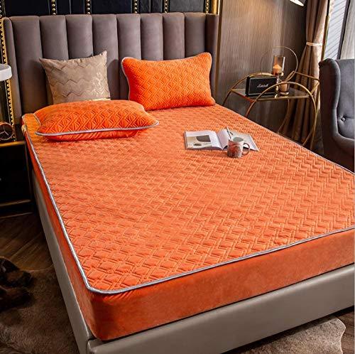 Fácil Cuidado Bedding Fundas,Sábanas acolchadas de terciopelo de cristal a prueba de polvo,protector de colchón de terciopelo de coral de calor engrosado para apartamentos de hotel-B_120*200cm+30cm