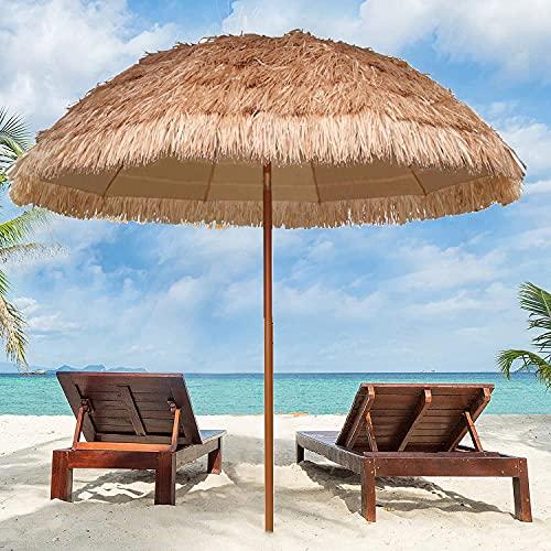 YFYYF Runder Sonnenschirm Hawaii Strandschirm Gartenschirm Balkonschirm, Strohschirm Apply to Garten Terrasse Rasen Strand Sonnenschirm