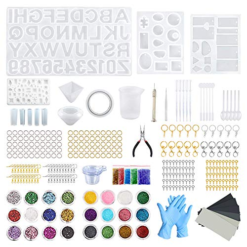 342 Pieces Silicone Resin Casting Molds Starter Kit with 12 PCS Epoxy Resin...