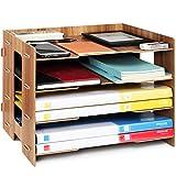 Tonsmile Organizzatore da Scrivania Legno A4 Portadocumenti Organizer Ufficio Documenti con 4 Sezioni