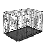 PawHut Transportín de Perro de 2 Puertas Jaula de Alambre para Perros Plegable con Asa Acero 76x53x57cm Negro
