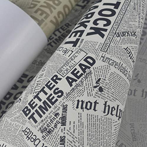 FEISENBZZ Fondo De Papel Tapiz De Periódico Vintage Personalizado Fondo De Papel Impermeable De Pvc En Blanco Y Negro Para Paredes Papel Tapiz De Vinilo Cartas...