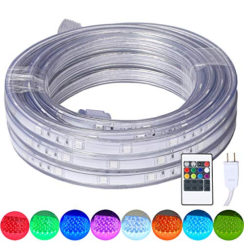 16.4 Feet Flat Flexible LED Rope Lights, Color Changing RGB Strip Light with Remote Control, 8 Colors Multiple Modes, Plug in Novelty Lighting, Connectable and Waterproof for Home Kitchen Outdoor Use