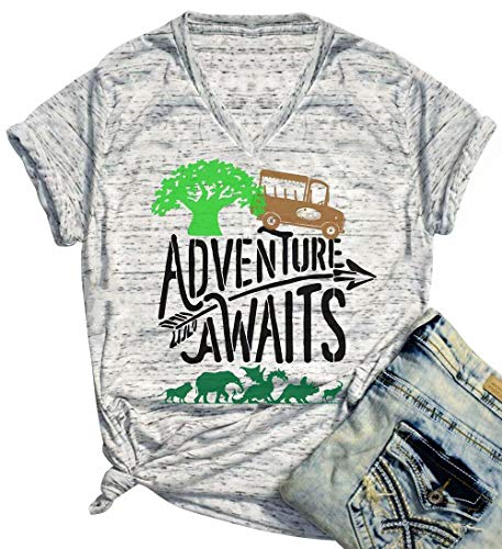 Adventure Awaits Disney Graphic Cute T Shirt for Women Letter Print V-Neck Tees Animal Kingdom Vacation Shirt Size Small (Grey)