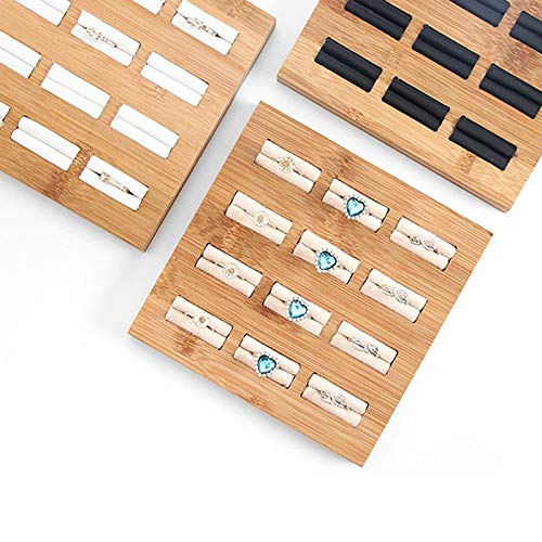 MUY Moda Anillos de bambú Bandeja de exhibición de Joyas Colgantes Anillos Accesorios de joyería Embalaje de joyería Simple para Mujeres Caja de Recuerdos Regalo de Pascua Caja de Recuerdos de Pascua