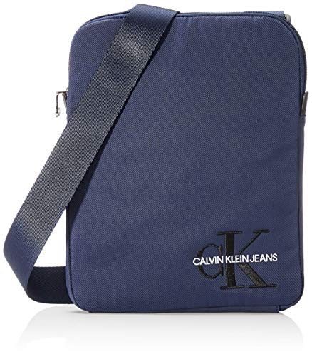Calvin Klein Ckj Monogram Nylon Flat Pack - Borse a spalla Uomo, Blu...