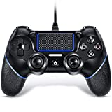 VOYEE Wired Controller with Upgraded Joystick for Sony Playstation 4/Pro/Slim/PC Windows (Black)