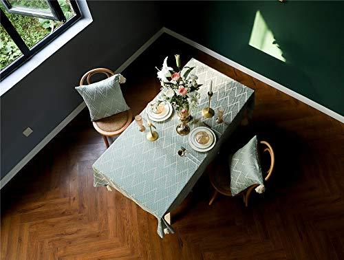 XIAKE Tischdecke 135x135 cm Tischtuch Streifen Tischdekoration aus Baumwolle und Leinen mit Stickerei Grün