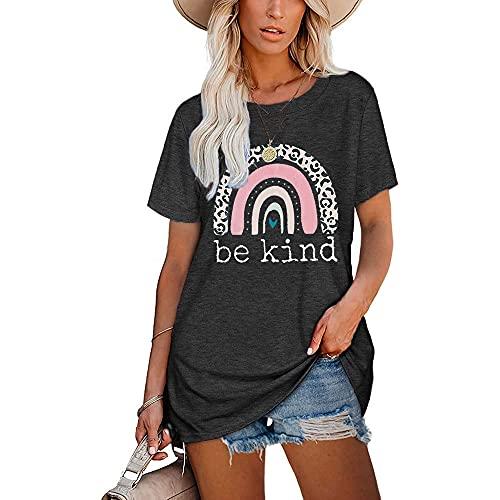 Mayntop Camiseta para mujer de verano con estampado de arco iris, estampado de leopardo, manga corta, blusa suelta con cuello en O, D-gris oscuro, 38