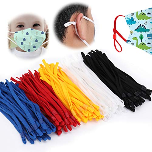 TOOVREN Elastic String for Masks with Adjustable Buckle, Adult Children Stretchy Bands Cord with Adjuster Cord Lock Face Cover Earloop Rope for DIY Mask Sewing-5 Assorted Colors 100 Pieces