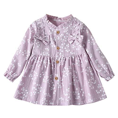 Baby Fille Manche Longue Arc Princesse Robe,Ewendy Fleur Impression Robe Convient pour 12 Mois-4 Ans (12-18 Mois, Violet)