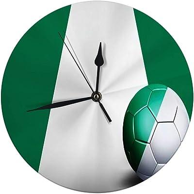 auguce Reloj de Pared Redondo Bandera de Nigeria con balón de ...