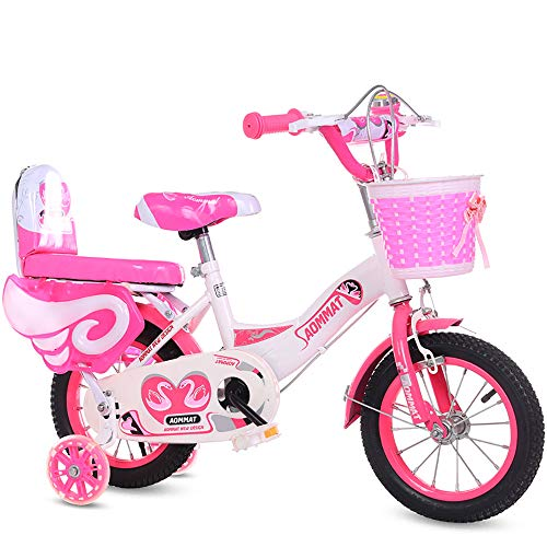 ZHIPENG Kids' Bikes Children's Bicycle, 14/16/18 Inch Boys and Girls Cycling, Suitable for Children 1.5〜6 Years Old,Pink,18 inches