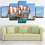 5 Cuadros Lienzo Decoracion Modernos Hd Impresión Imagen Art - Marco De Fotos De Combinación De Bricolaje - Decorativo Barco Sea Viejo Velero