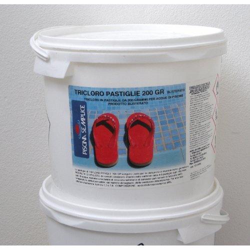 Lapi - 10 kg Tricloro Pastiglie 200Gr A Lenta Dissoluzione. per Mantenere Il Livello di Cloro Costante nell'Acqua. Prodotto in Italia da Azienda certificata