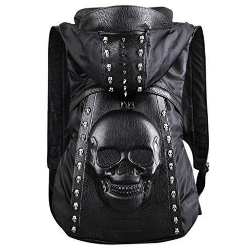 WEISSES 3D Stereo Skull Rucksack Niet Punk Rucksack Schwarz Metall Persönlichkeit Freizeit Tasche