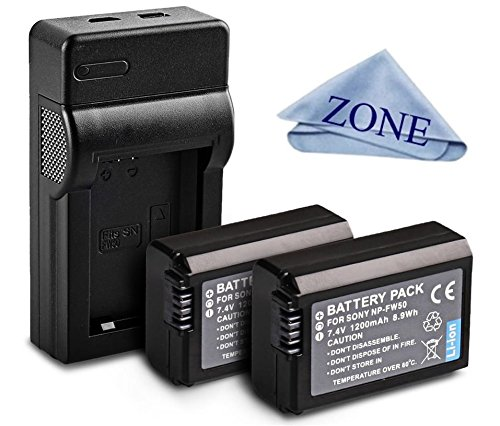 NP-FW50 Replacement 2 Batteries & Charger for Sony DSC-RX10 IV, DSC-RX10 III, DSC-RX10 II, DSC-RX10, Alpha 7, Alpha 7R, a7, a7R, a7R II, a7S, a7S II, a3000, a5000, a5100, a6000, a6300, a6500 Cameras -  Accessory Zone, NP-FW50.2BATCAHRGER