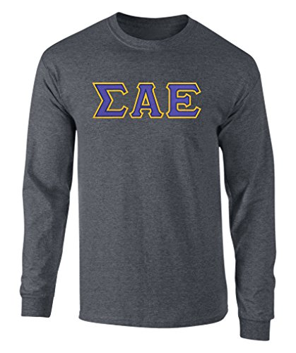 Sigma Alpha Epsilon Twill Letter Long Sleeve Tee Dk Heather Large