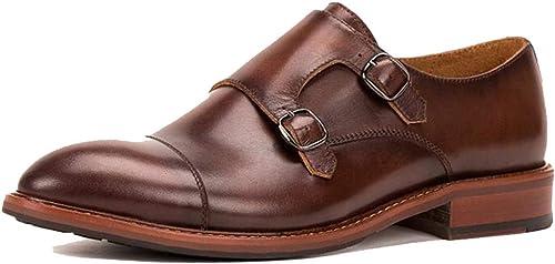 GGLZMMF Boucle Carrée Racine Pointu Chaussures Habillées pour Hommes Homme Angleterre Gentleman Sculpté à La Main Vin Rouge Brun Foncé Brock Quatre Saisons