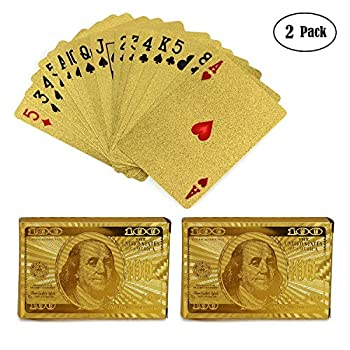 KISEER 2 Decks Gold Playing Cards Waterproof 24K Foil Gold Poker for Party and Game
