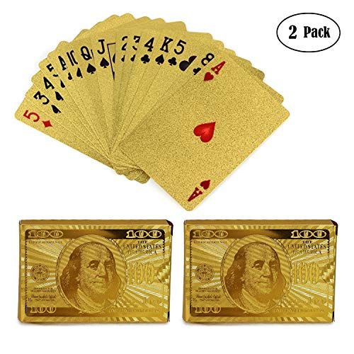 KISEER 2 Pack 24K Gold Foil Playing Cards Waterproof Gold Plated Poker for Table Game or Magic (100 Dollar Pattern)
