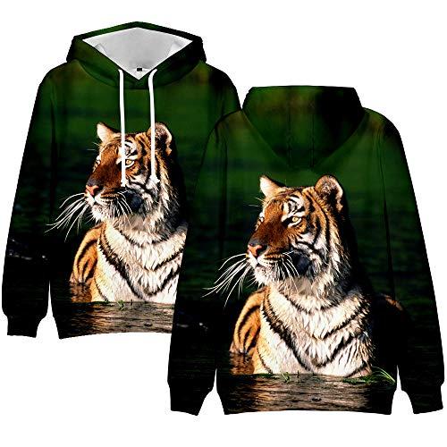 3D-bedruckter Tiger-Kapuzenpullover für Damen und Herren, modisch, lange Ärmel, lässiger Streetshirt, Hip-Hop-Stil, Tierkleidung Gr. XX-Large, 1