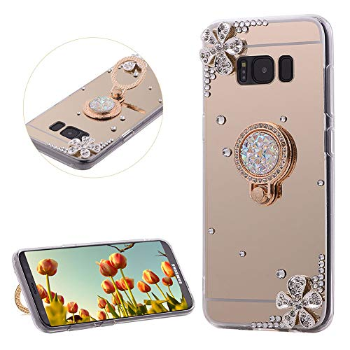 DasKAn Rhinestone Mirror Case for Samsung Galaxy Note 8 with Metal Finger Holder Ring Stand,Crystal 3D Diamond Design Ultra Slim Soft Silicone Back Cover Flexible TPU Protective Phone Case,Gold#1