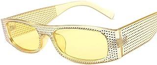 DovSnnx - DovSnnx Gafas De Sol Unisex para Hombres Y Mujers Polarizadas Protección 100% Uv400 Clásico Vintage Moda Sunglasses Imitación Diamante Amarillo Montura Lente Amarilla