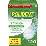 Polident 3-Minute Antibacterial Denture Cleanser - Mint, 3 Minute Whitening, 120 Count