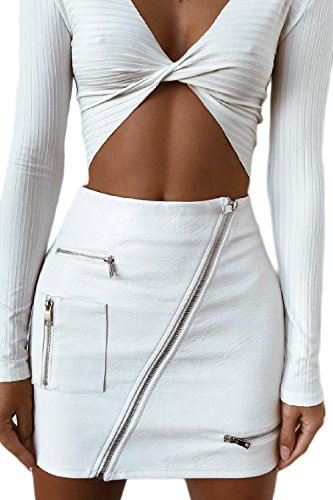 Damen Leder die Röcke Partei Clubwear Reißverschluss Mini Bodycon Rock weiße S