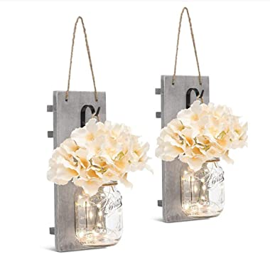 """""""N/A"""" Rustic Mason Jar Wall Decoration Handmade Wall Hanging Decoration Design with LED Fairy Lights Decoration Suitable for"""