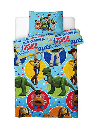 Disney Toy Story 4 Single Duvet Cover Reversible Bedding Set With Matching Pillow Case – Featuring Woody, Buzz & Their Friends (Toy Story Freinds, Single)