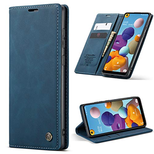 HAII Google Pixel 5 Case, Flip Fold Leather Wallet Case with Credit Card Slot and Kickstand Magnetic Closure Protective Cover for Google Pixel 5 2020 (Blue)