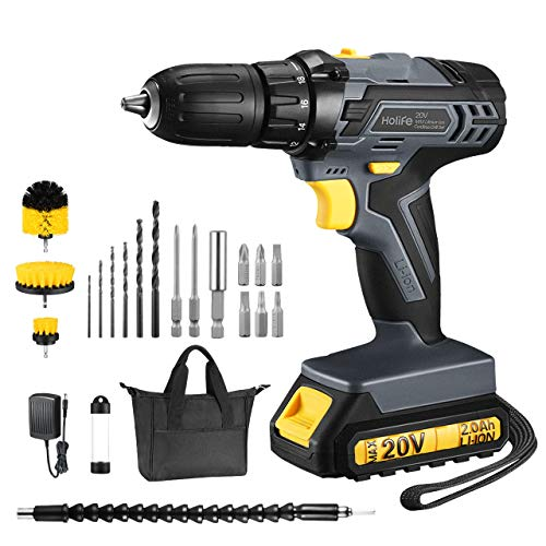 TOPELEK 20V Cordless Drill 2.0Ah Lithium-ion Battery Drill Driver, Drill Kit with 3 Drill Brushes, LED, 2-speeds, 18+1 Torque Settings, Portable Tool Bag, 22pcs Accessories