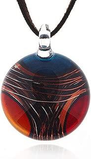 Chuvora Hand Blown Venetian Murano Glass Multi-Colored Round Pendant Necklace, 18-20 inches