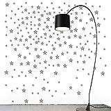 220pcs Pegatinas Estrellas Pared Vinilos Adhesivos Stickers Decorativos Pared Etiquetas Pared Decoración Salón Dormitorio Habitación de Niños Infantiles Gris