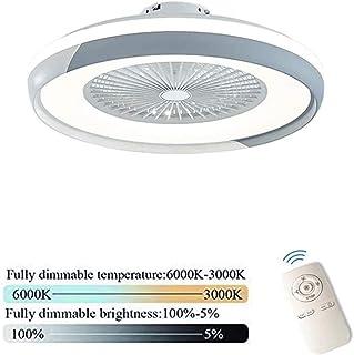 Ventilador De Techo Con Iluminación Luz Ventilador De Techo LED Invisible, Regulación Remoto De La Lámpara Del Techo Creativo Moderno Ultra Silencioso De Habitaciones Dormitorio Fan Lámpara,Gris