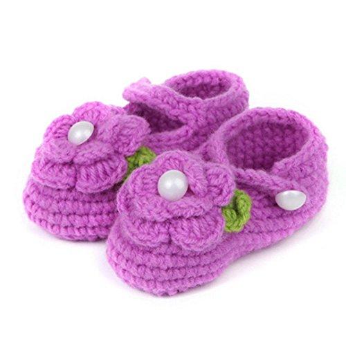 LuckyGirls Krabbelschuhe MäDchen Rose Schuhe Kinder Crochet Handarbeit Stricken Socken Infant Baby Shoes (lila)