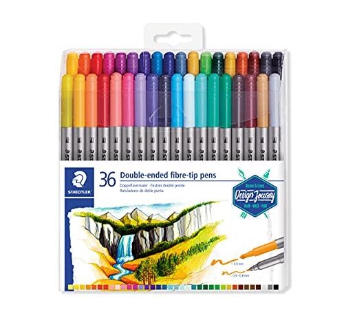 STAEDTLER Design Journey 3200 TB36, Rotuladores para lettering de doble punta, Caja con 36 marcadores de colores variados