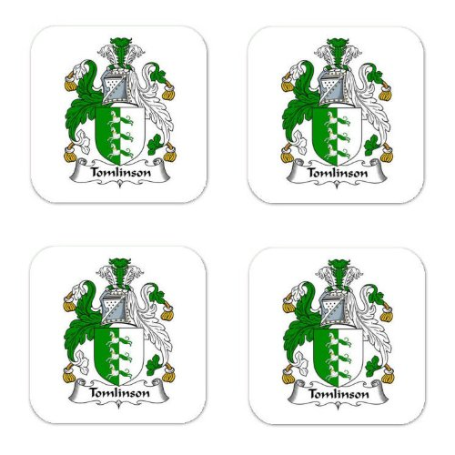 Tomlinson Family Crest Square Coasters Coat of Arms Coasters - Set of 4