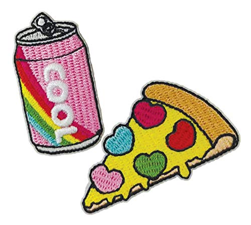 iscream Snack Shack Soda and Pizza Embroidered Accent Set of 2 2.75' Adhesive Back Patches