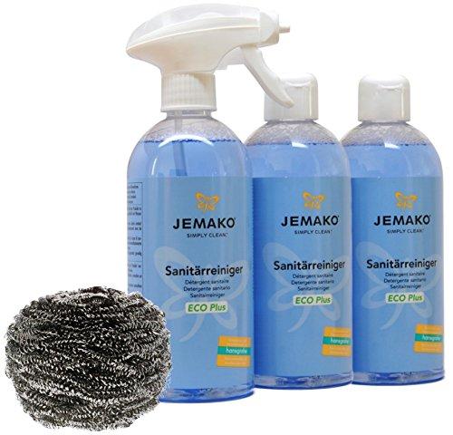 Jemako Sanitärreiniger ECO Plus 1500ml inkl. Sprühpumpe, Edelstahlspirale & Sinland Microfasertuch (1500ml)