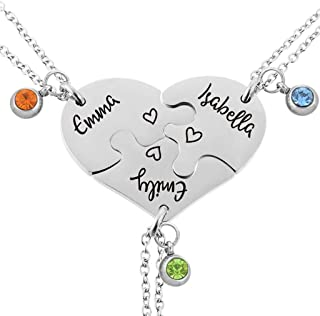 Best Friend Neckalces Customizable Rhinestone Best Friends Forever and Ever BFF Necklace Engraved Puzzle Friendship Necklaces Set Split Heart Pendant Necklace Set of 3 or 4