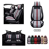 OASIS AUTO Leather&Fabric Car Seat Covers, Faux Leatherette Automotive Vehicle Cushion Cover for Cars SUV Pick-up Truck Universal Fit Set Auto Interior Accessories (OS-007 Full Set, Gray)