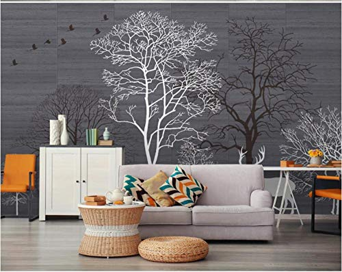 Photo Wallpaper 3D Wall Murals Poster Black and White Big Tree Forest elk 350x245cm Wallpaper Decoration Picture Design