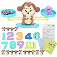 モンキーバランス数学ゲームおもちゃバランススケールカウント子ども向け教育玩具(褐色)