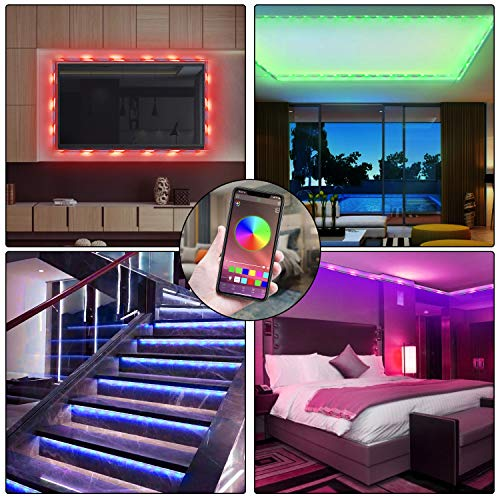 HRDJ Led Strip Lights 66 Feet, Music Sync Color Changing Led Light Strip 5050 SMD Flexible Rope Lights with Remote App Control Led Lights for Bedroom 6