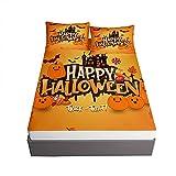 Oduo Halloween Impresión Juegos de Sábanas, Microfibra Sábana Bajera Ajustable Bolsillo Profundo 30cm con 2 Fundas de...