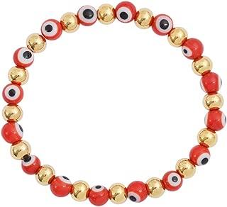 Edforce Stainless Steel Women Enamel Evil Eye Protection Beaded Link Chain Elastic Bracelet